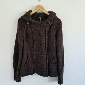 Free People Wool Blend Cable Knit Cardigan Sweater